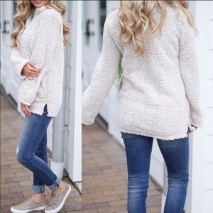 Sweaters - Soft Off-White/Cream Sherpa Pullover- LARGE ONLY